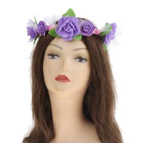 Гавайский светящийся венок «Фиолетовые розы»