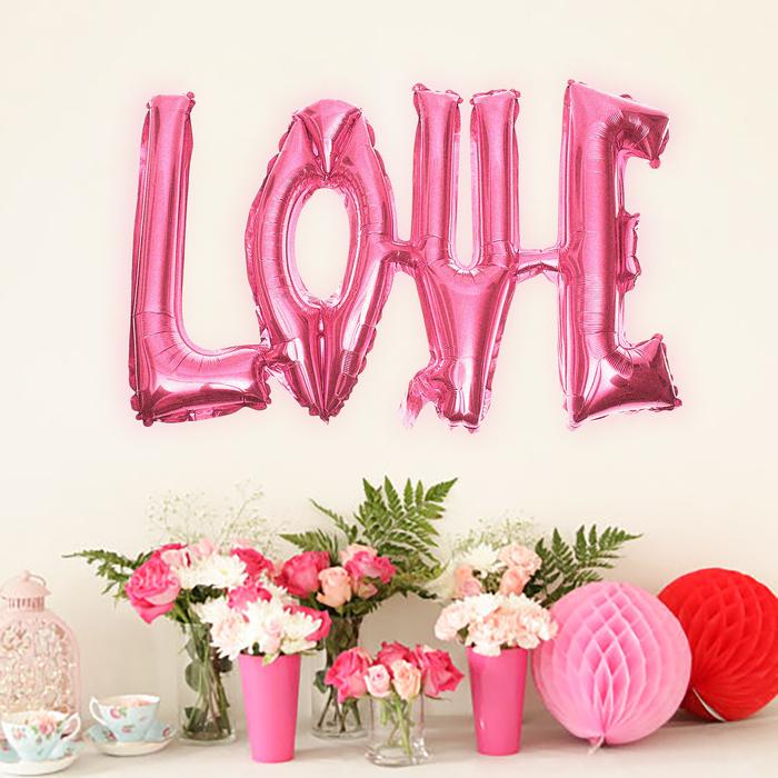"""Шар фольгированный """"Надпись Любовь"""" 38"""", заглавные буквы, цвет розовый"""