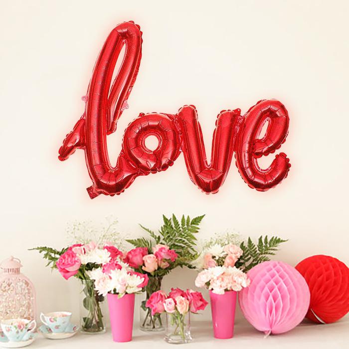 """Шар фольгированный """"Надпись Любовь"""" 38"""", прописные буквы, цвет красный - фото 228289985"""