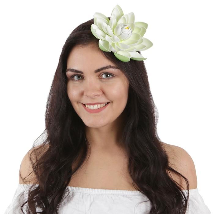 """Гавайский ободок """"Лотос"""", цвет бело - зелёный"""