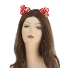 "Hawaiian headband with ears ""Flowers"", red"