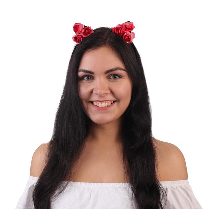 """Гавайский ободок с ушками """"Розы"""", цвет красный"""