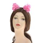 """Гавайский ободок с ушками """"Цветы"""", цвет розовый"""
