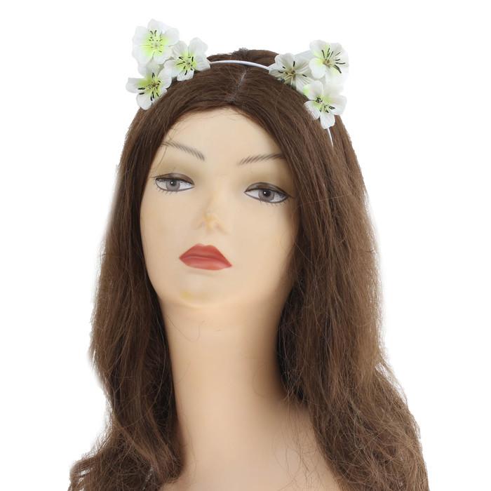 """Гавайский ободок с ушками """"Цветы"""", цвет белый"""