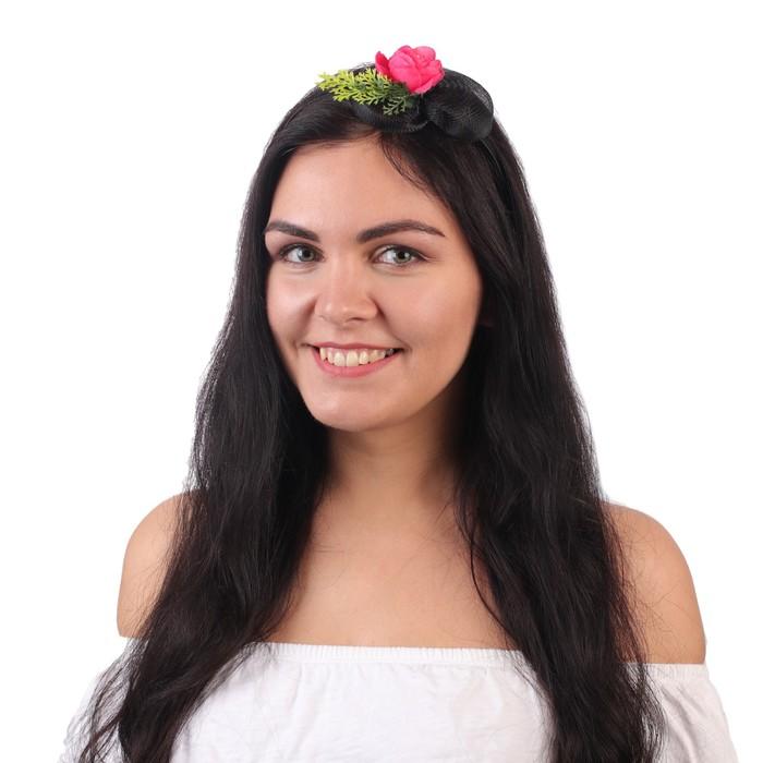 """Гавайский ободок с вуалью """"Цветы"""", цвет розовый"""