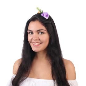 Гавайский ободок с вуалью «Цветы», цвет фиолетовый