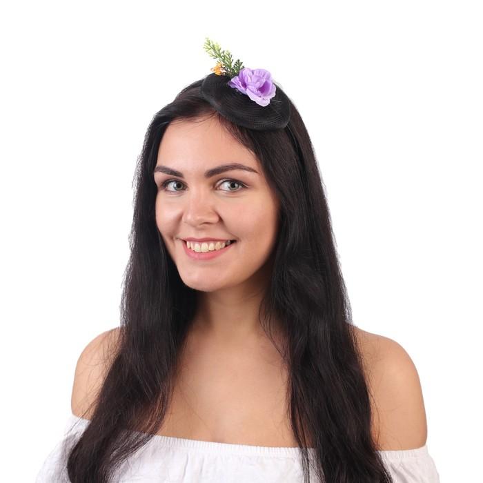 """Гавайский ободок с вуалью """"Цветы"""", цвет фиолетовый"""