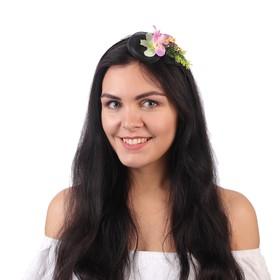 Гавайский ободок с вуалью «Цветы», цвет розово-белый