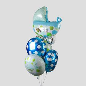 "A bouquet of balloons ""the Birth of a boy"", baby stroller, foil, set of 5 PCs."