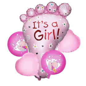 """A bouquet of balloons """"the Birth of a girl"""", heel, foil, set of 5 PCs."""