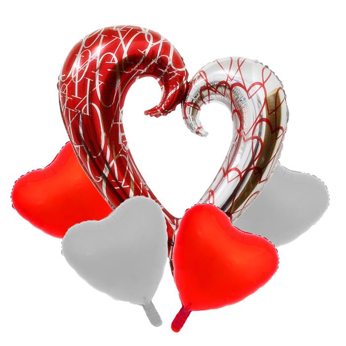 """Букет из шаров """"Сердца"""", фольга, набор из 5 шт."""