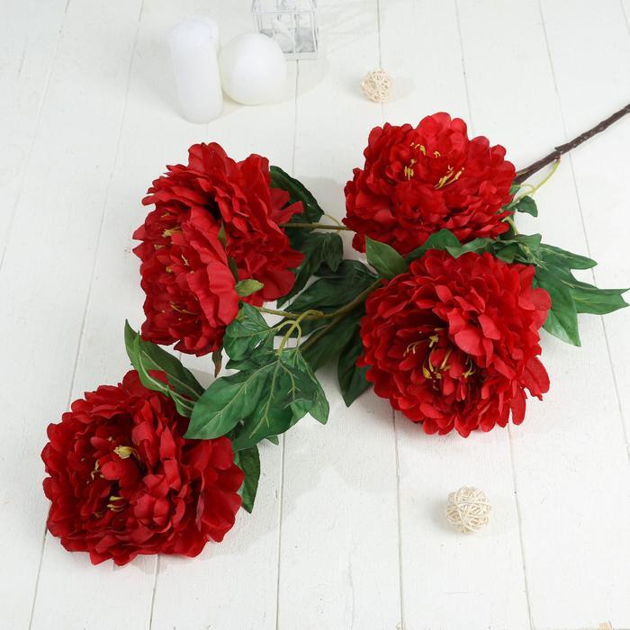 """Цветы искусственные """"Пион кустовой"""" 5 бутонов 15*110 см, красный - фото 4455498"""