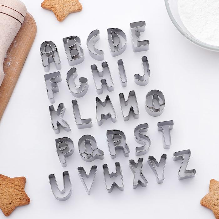 """Набор форм для вырезания печенья 2,5х2х2 см """"Алфавит"""", 26 шт"""