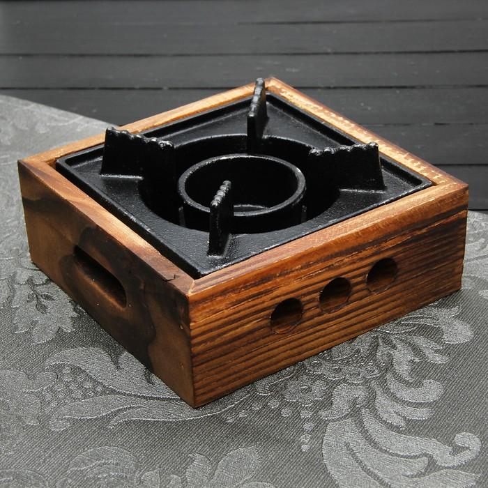 Подставка для подогрева блюд, 20,5×20,5×6,6 см, с деревянной подставкой