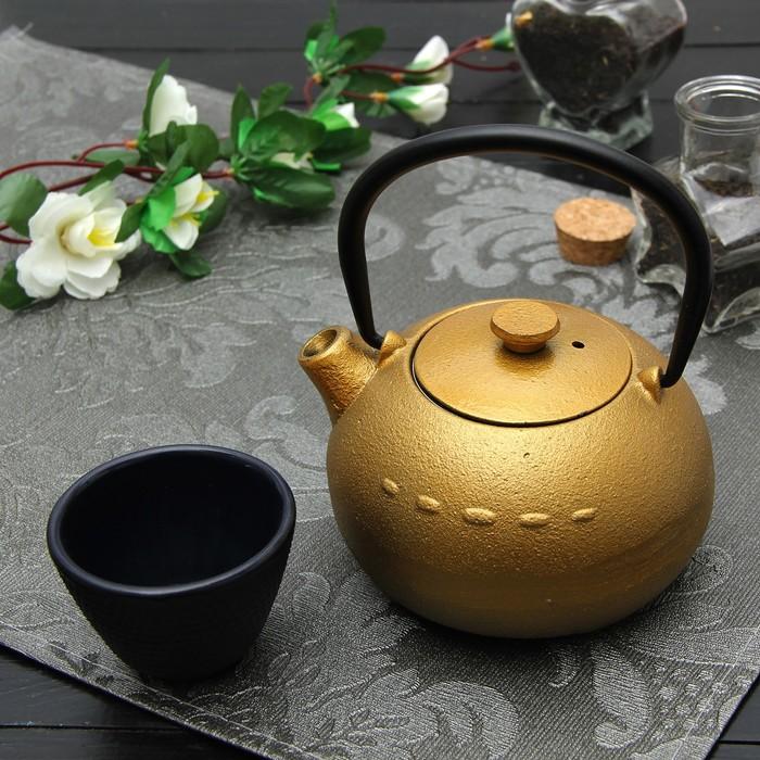 """Чайник с ситом 300 мл """"Берг"""", цвет золотой"""