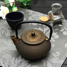 "A kettle with a sieve of 300 ml of ""Eastern night. Gold"" color black"