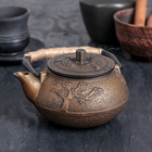 """Чайник с ситом 300 мл """"Долголетие. Золото. Этно"""", цвет черный"""