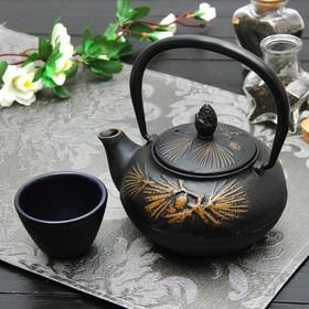 Чайник «Циру. Золото», 500 мл, с ситом, цвет чёрный