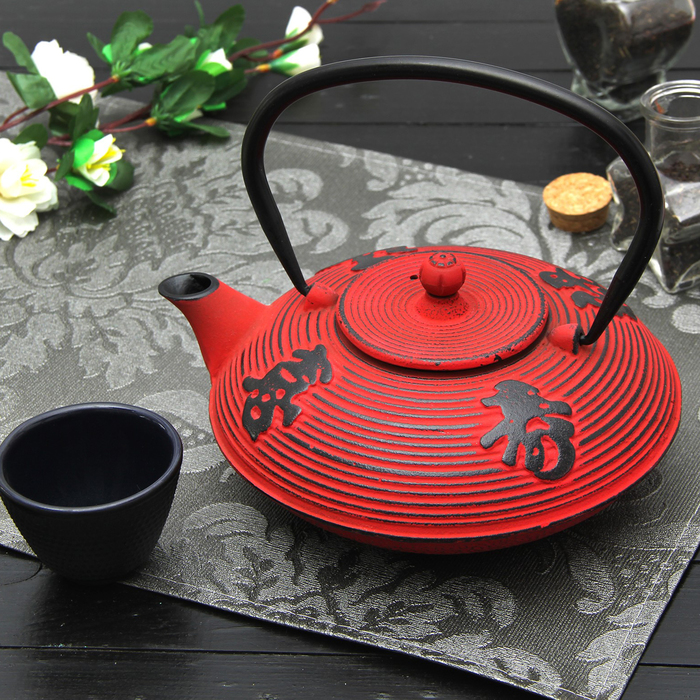 """Чайник с ситом 800 мл """"Китайская мудрость"""", цвет красный"""