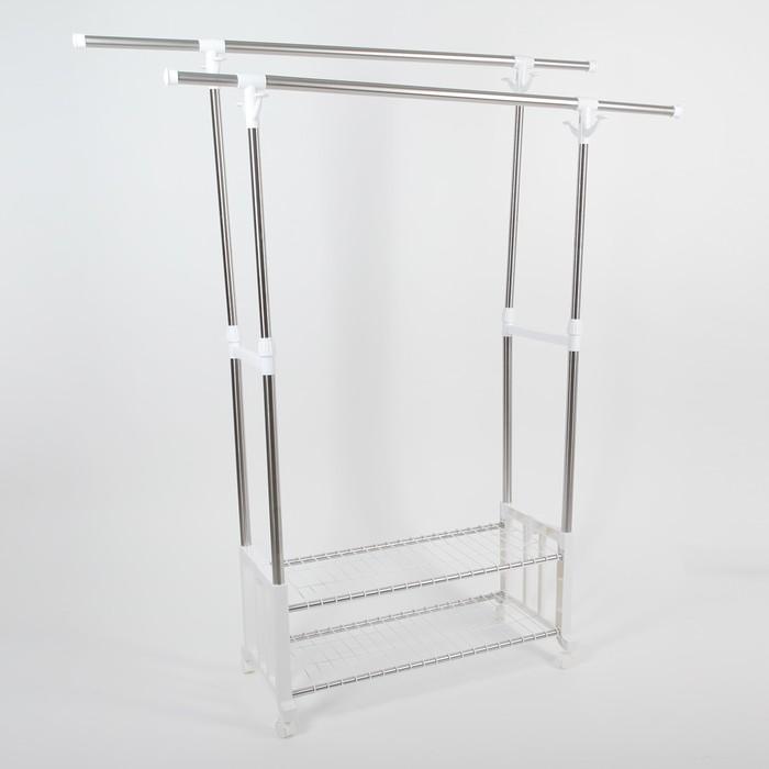 Стойка для одежды телескопическая, 2 перекладины, 2 полки 169x34x162 см