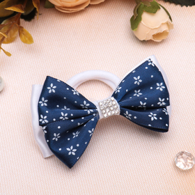 Резинка для волос бант 'Школьница' d-6 см, сине-белая, цветочки Ош