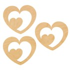 """Декоративный элемент для творчества """"Два сердца"""" набор 3 шт 15х13 см"""