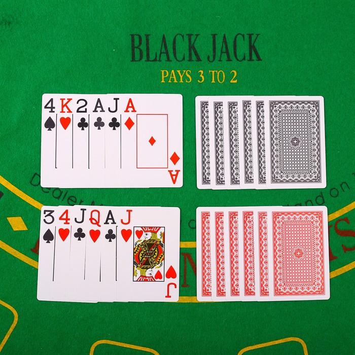 Карты игральные пластик 54 шт, 28 мкрн, черные, 6.5х9 см