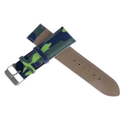 Watchband, 24mm, eco-leather, camouflage khaki, 20cm