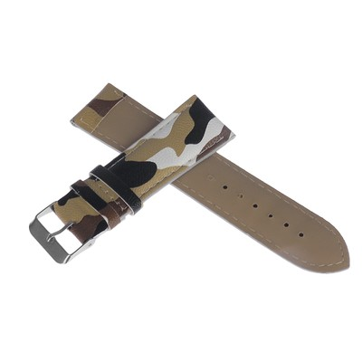 Watchband, 24mm, eco-leather, camouflage-beige-black, 20cm