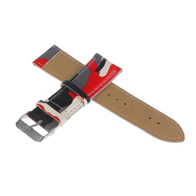 Watchband, 24mm, eco-leather, camo red gray, 20cm