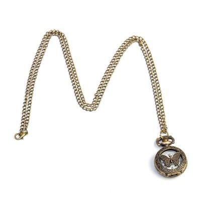 """Часы карманные """"Бабочка"""", кварцевые, на цепочке, 3.5х2.6 см"""