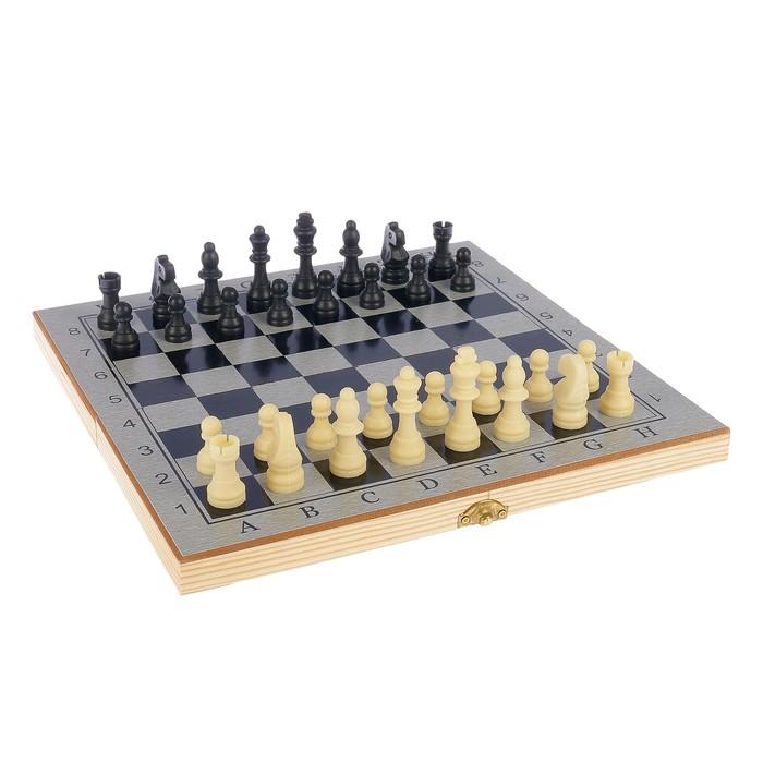"Настольная игра, набор 3 в 1 ""Шелест"": нарды, шахматы, шашки, доска  29х29см"