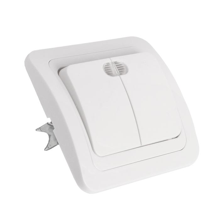 """Выключатель Smartbuy """"Марс"""", 10 А, 2 клавиши, с индикатором, белый"""