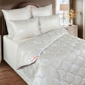Одеяло зимнее 140х205 см, шерсть мериноса, ткань глосс-сатин, п/э 100%