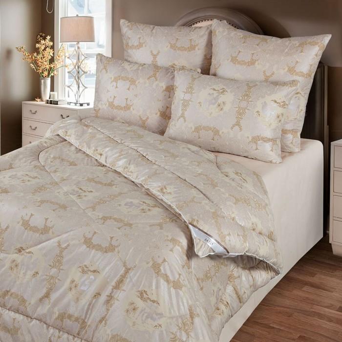 Одеяло 220х205 см, шерсть верблюда, ткань глосс-сатин, п/э 100% - фото 612074