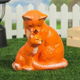 """Садовая фигура """"Кошка с котёнком"""", оранжевый цвет, 22 см"""