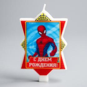 Свеча в торт 'С Днем Рождения', Человек-паук, 8 х 16.5 см Ош