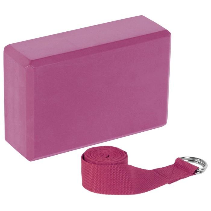 Набор для йоги (блок+ремень), цвет розовый