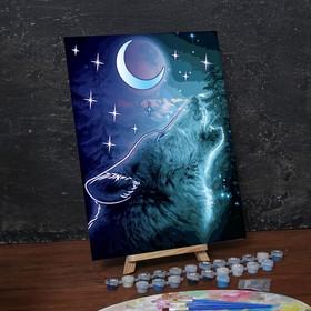 Лунная роспись по номерам без подрамника «Волк, 30 х 40 см