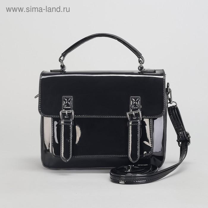 Сумка жен L-7305, 28*10*23, отд с пер, 2 н/кармана, длинн ремень, черный
