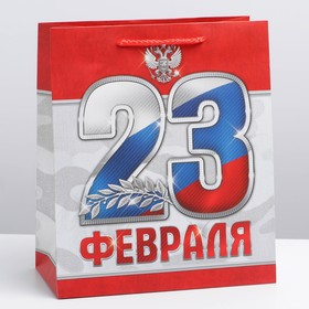 """The package laminated vertical """"23 February!"""" ML 23 × 27 × 8 cm"""