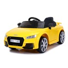 The electric car AUDI TT RS, the color yellow, EVA wheels, leather seat