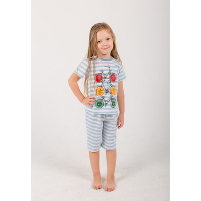 "Комплект для девочки (футболка, бриджи) ""Fruity bike"" 6211 цвет голубой, р-р 40"