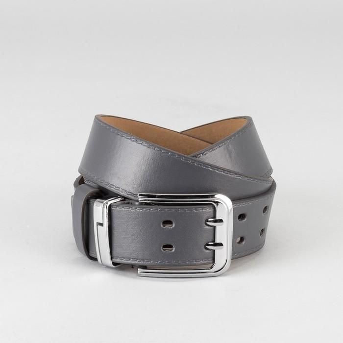 Ремень мужской, пряжка хомут металл, 2 прокола, ширина - 4 см, цвет серый