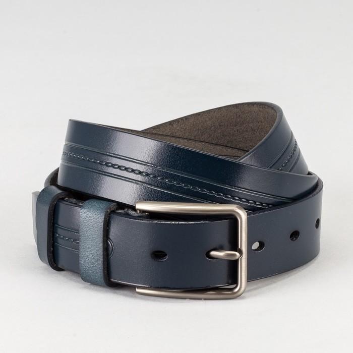 Ремень мужской, пряжка тёмный металл, ширина - 3,5 см, цвет синий