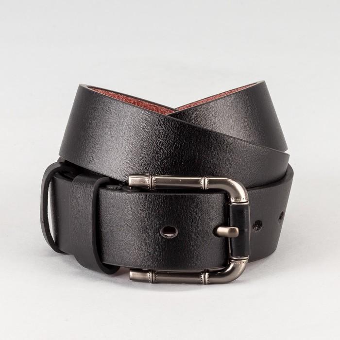 Ремень мужской, гладкий, пряжка тёмный металл, ширина - 4 см, цвет чёрный