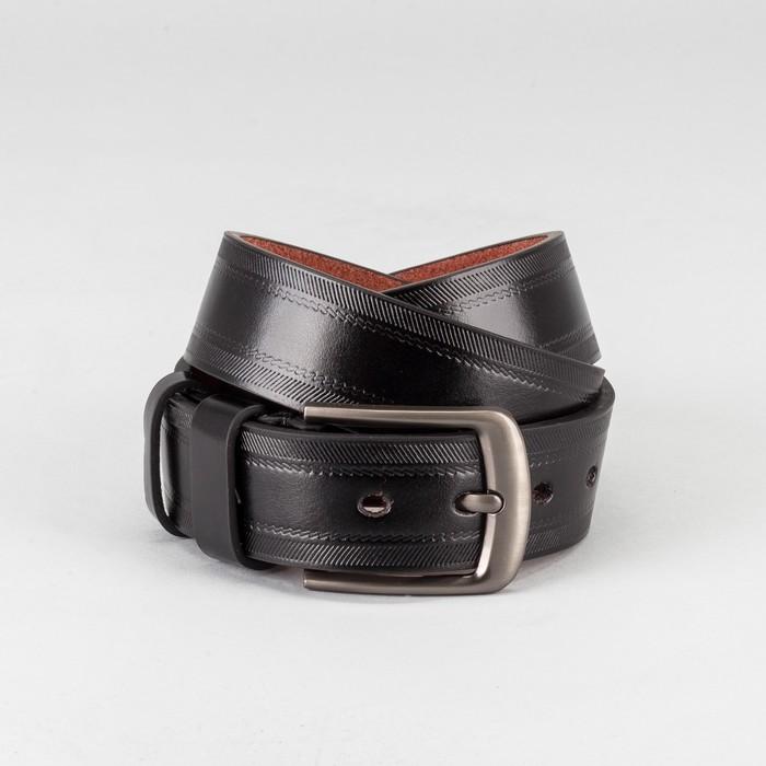 Ремень мужской, пряжка тёмный металл, ширина - 4 см, цвет чёрный