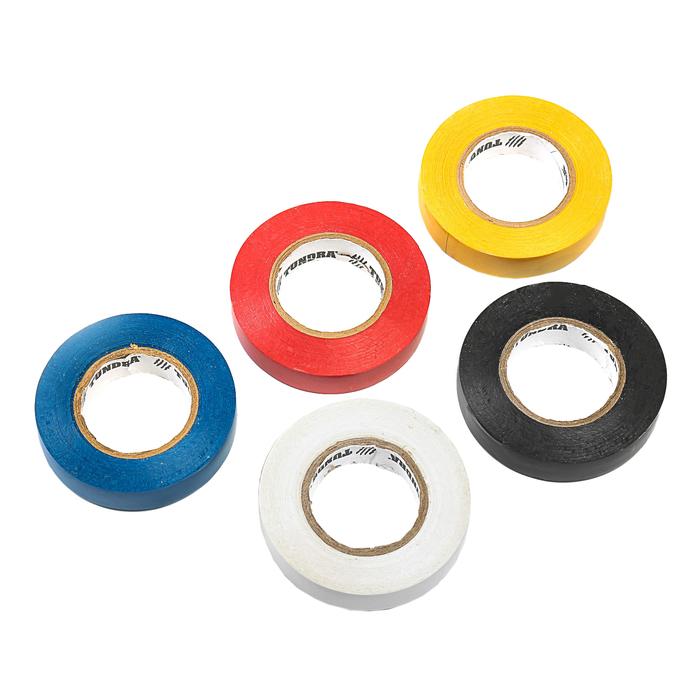 Изолента TUNDRA, ПВХ, 15 мм х 20 м, 130 мкм, набор 5 шт.(черный/синий/красный/белый/желтый)