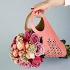 """Пакет для цветов с вырубкой """"Кувшин"""", розовый, 37 х 18 см"""