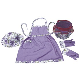 Набор, 4 предмета: перчатки, сумка, фартук, панама